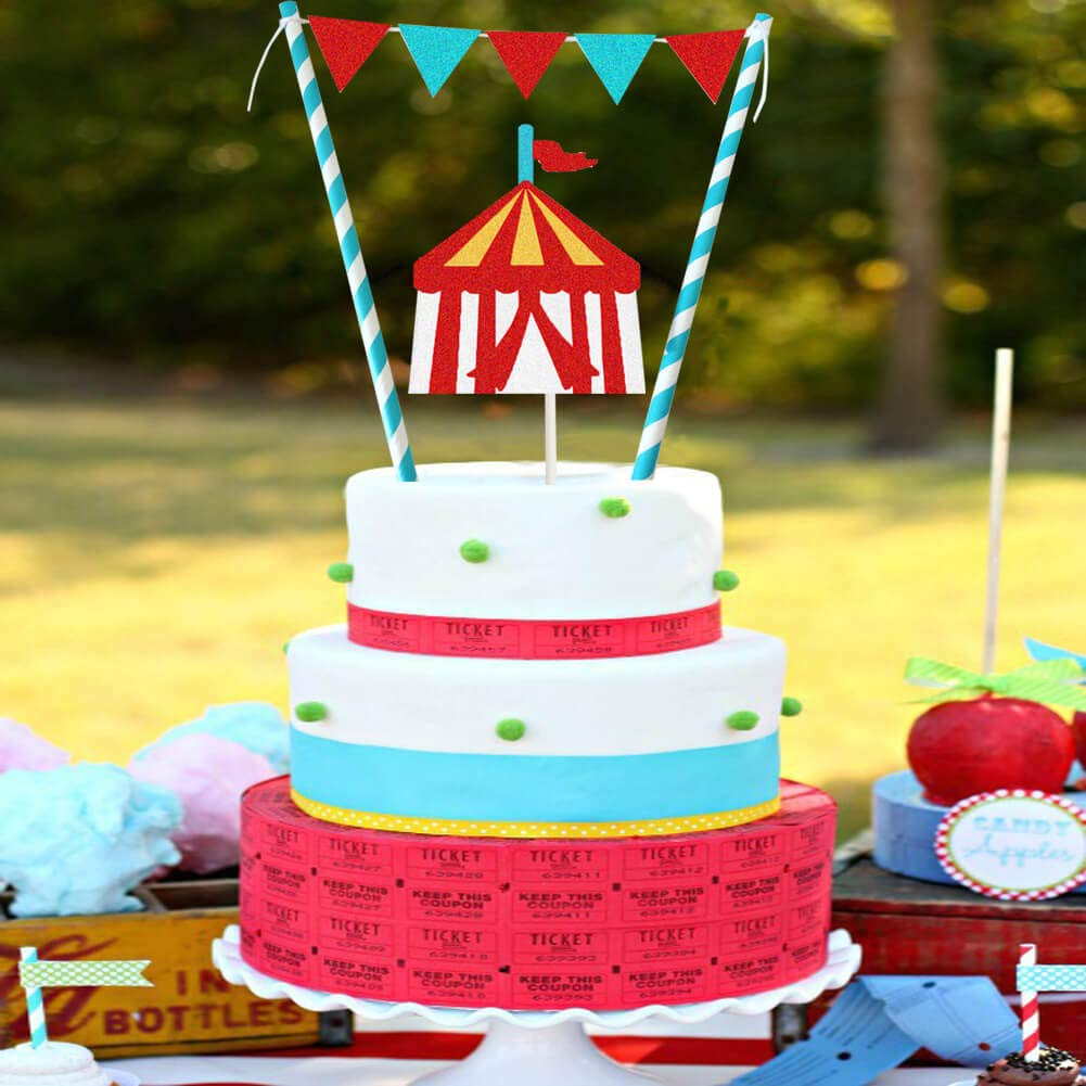 Double Side Glitter Circus Tent ONE Cake Topper for 1st Birthday Anniversary Baby Shower One Month Party Decoration Supplier