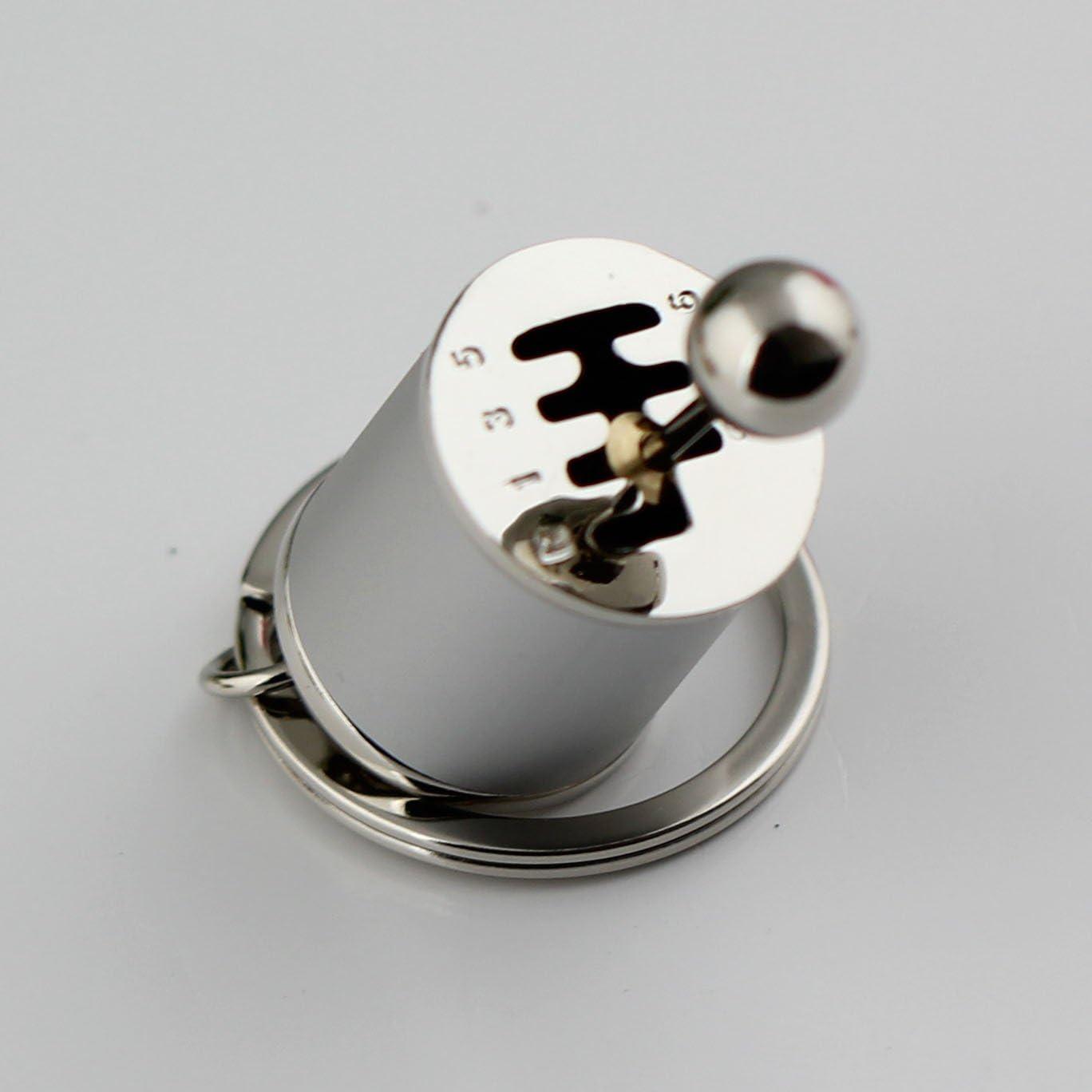 Silver maycom Creative Auto Part Model Gear Box Keychain Six-Speed Manual Transmission Shift Lever Keyring Key Chain Ring Keyrings Keyfob