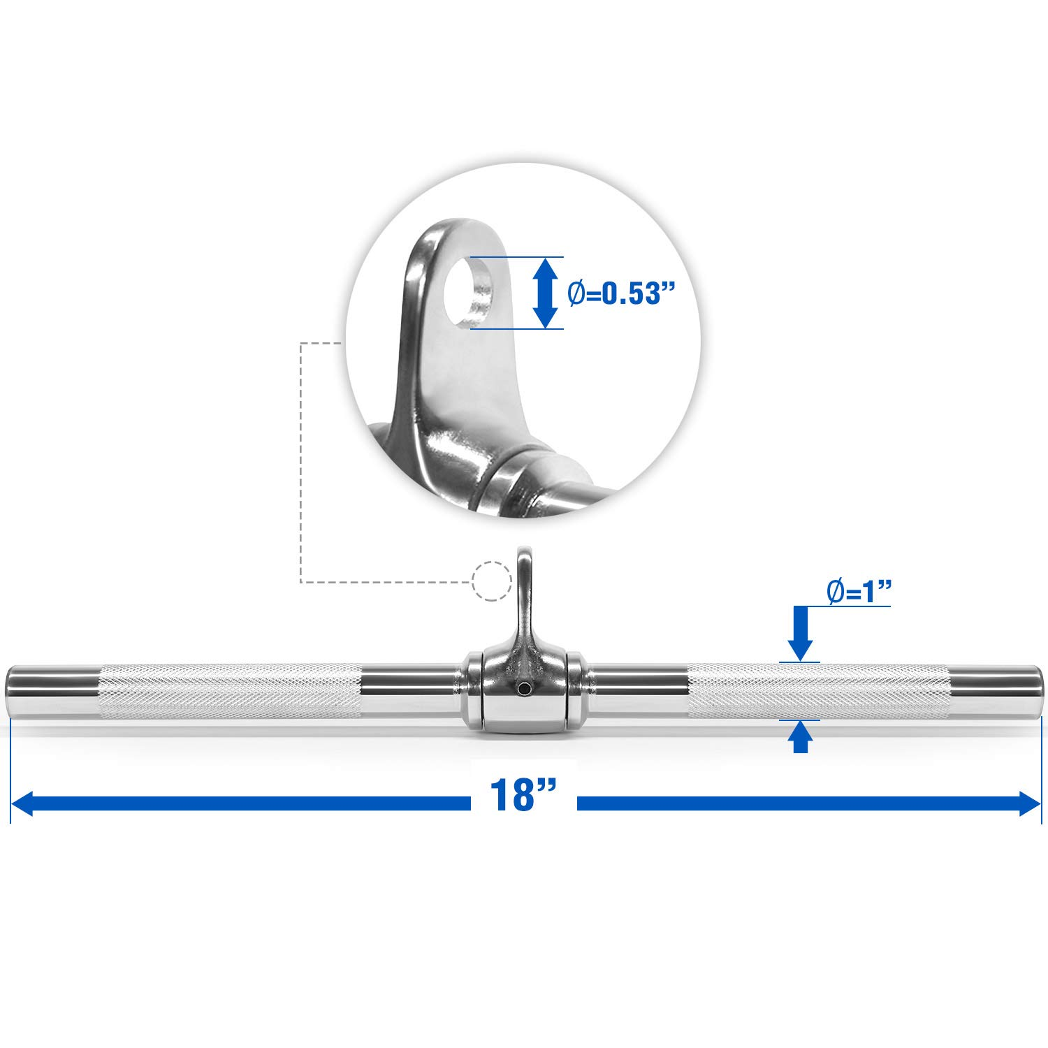Yes4All Revolving Straight Bar with Non-Slip Handle – Rotating Straight Bar Cable Attachment – Lat Pull Down Bar – Support up to 880 lbs (Chrome) by Yes4All (Image #2)