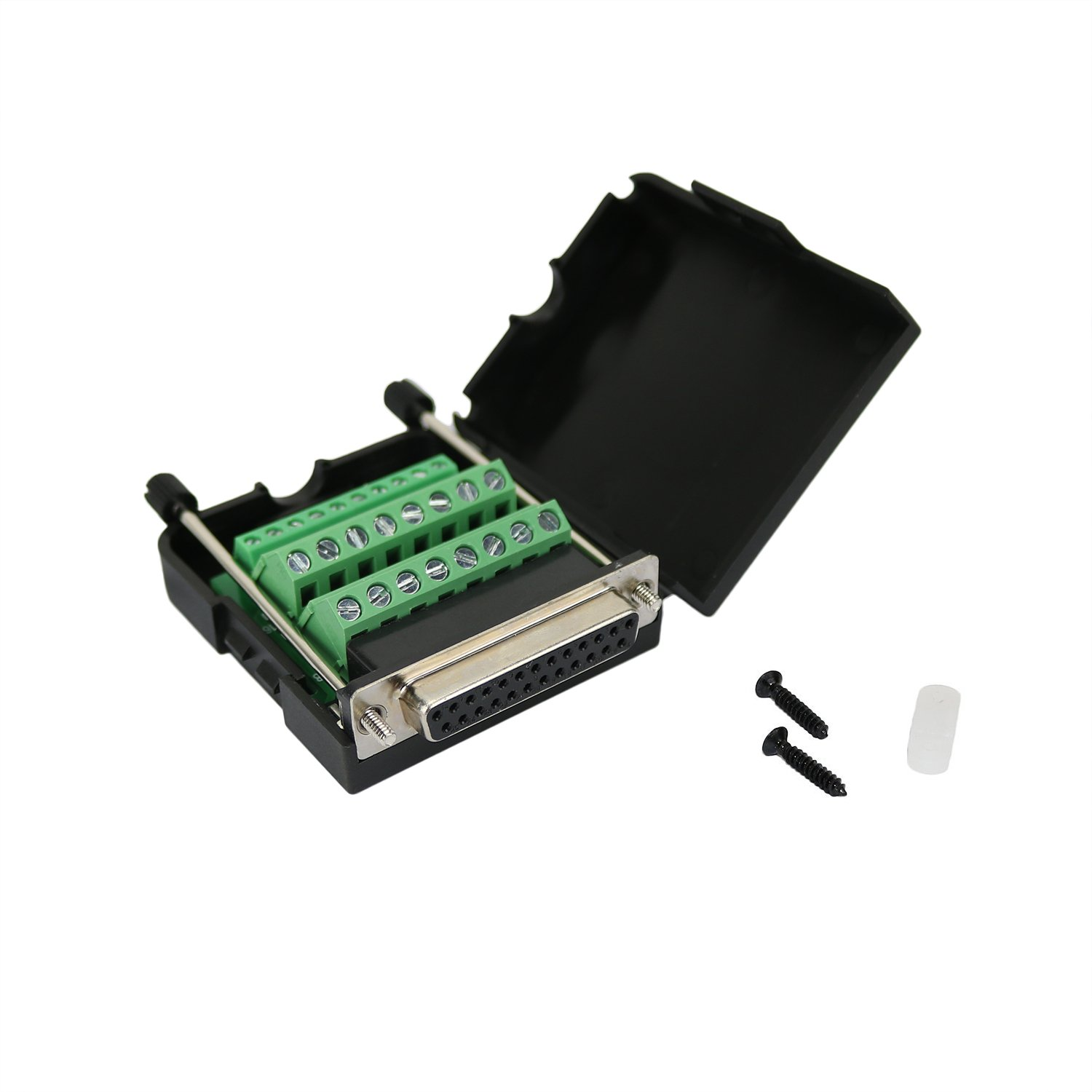 Twinkle Bay DB25 Connector to Wiring Terminal Db25 Breakout Board Solder-free (Female Adapter with Case)