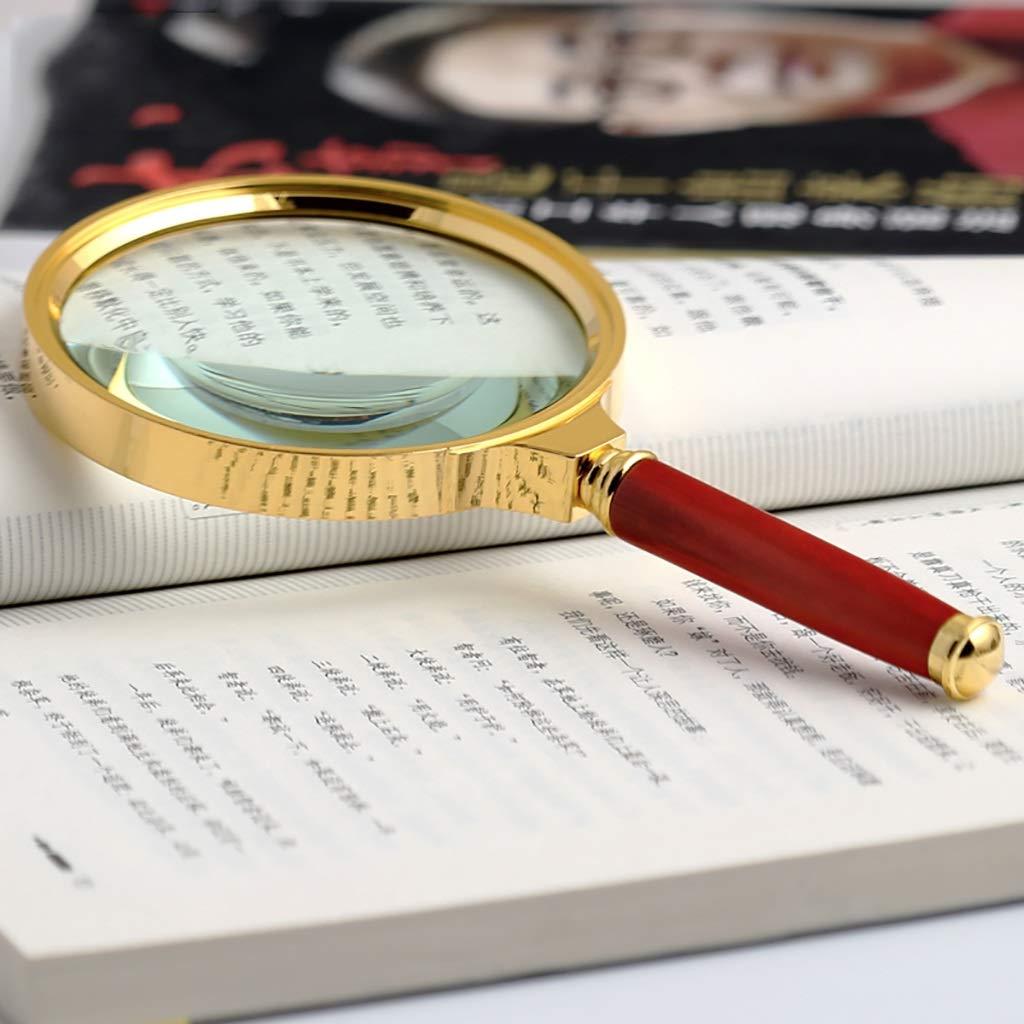 ElectroOptix 20X Handheld Magnifier Antique Handle Magnifier, Reading Magnifying Glass for Reading Book, Magnifying Glass with Non-Slip Handle (Color : Red)