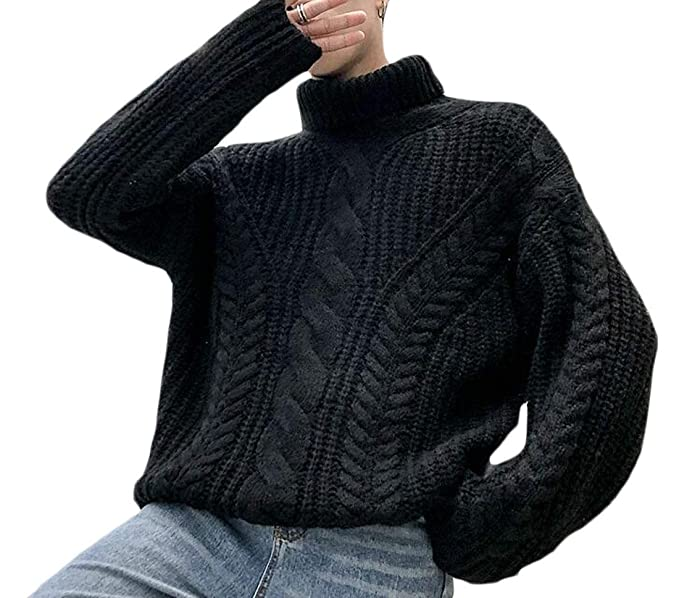 Joe Wenko Mens Fall Winter Casual Cable Knit Turtle Neck Pullover Jumper Sweater