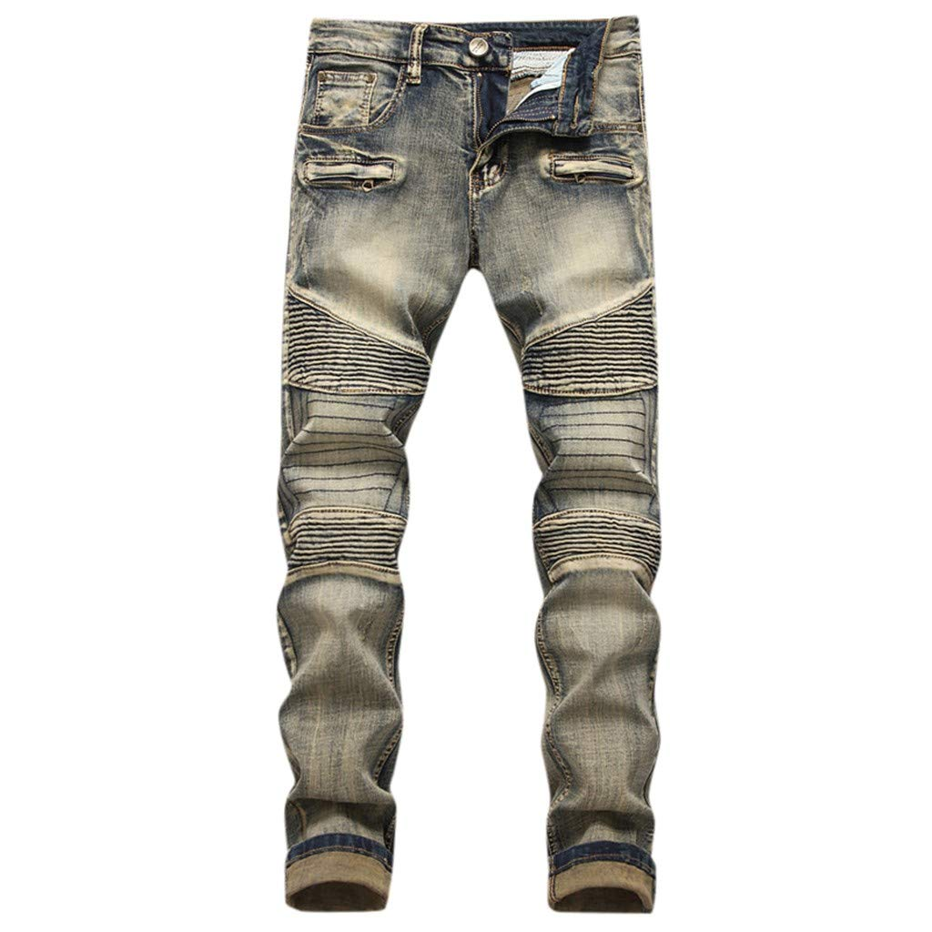 Armfre Bottom Men's Skinny Jeans Ripped Pants Distressed Destroyed Slim Fit Straight Leg Pleated Moto Biker Denim Jeans Casual Long Trouser by Armfre Bottom