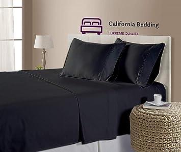 300TC 100/%Cotton QUEEN Waterbed sheet set BLACK