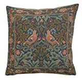 Woven European jacquard tapestry cushion covers. Brother Bird 1 - William Morris. 19 x 19'' - Detailed hand finished designer decorative throw pillows for couch and sofas.