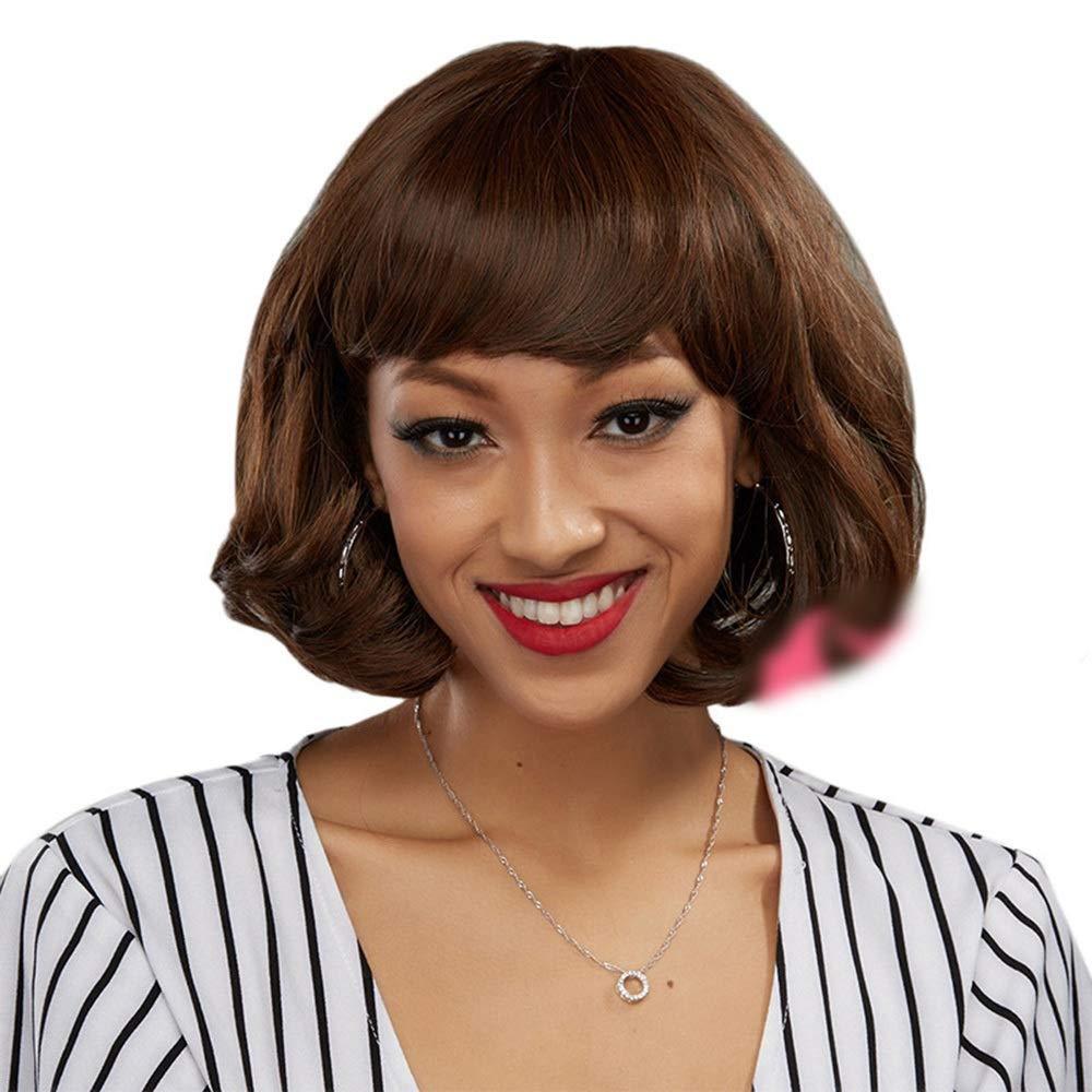 MAGAI Fashion Lady Brown, pelo corto y rizado Bob peluca con gorra ...