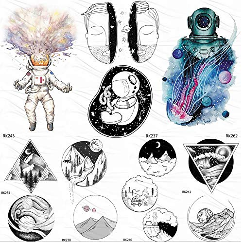 Tatuajes Temporales Adultos Flores Astronauta Medusa Outspace ...