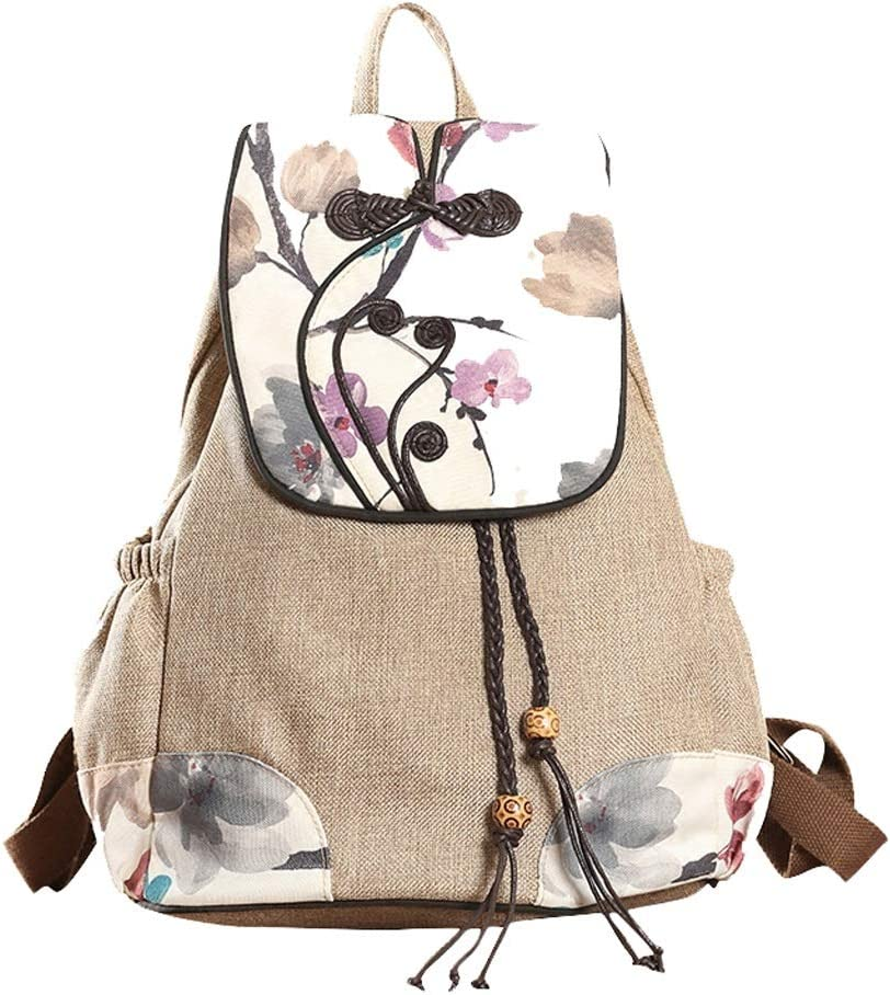 C /& S Leisure Backpack Large Capacity Outdoor Travel Sports Bag Embroidery Retro National Wind Double Shoulder Bag