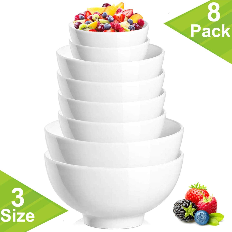 DeeCoo 8 Packs Mixing Serving Bowls Set - 42 | 28 | 10 Ounce - Microwave and Dishwasher Safe Bowls for Cereals, Dessert, Rice, Soup, Side Dishes, Salad, Ramen, Fruit, Food Prep or Serving, Appetizer