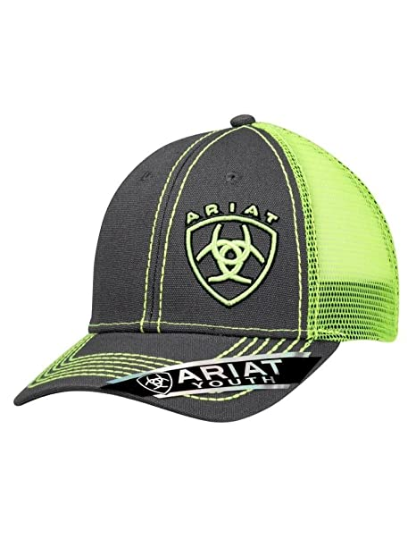 85acf839 Amazon.com: ARIAT Kid's Lime Green Signature Logo Cap, Grey, Lime ...