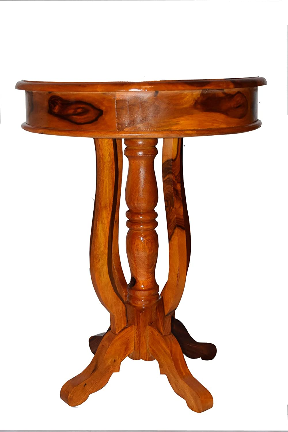 BG Furniture Sheeham Wood Round Bed Side End Table for Bed Room (Natural Teak)