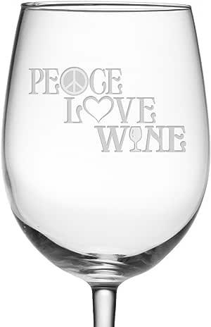 Paz, amor y vino grabado copa de vino diseño de símbolo de la Paz ...