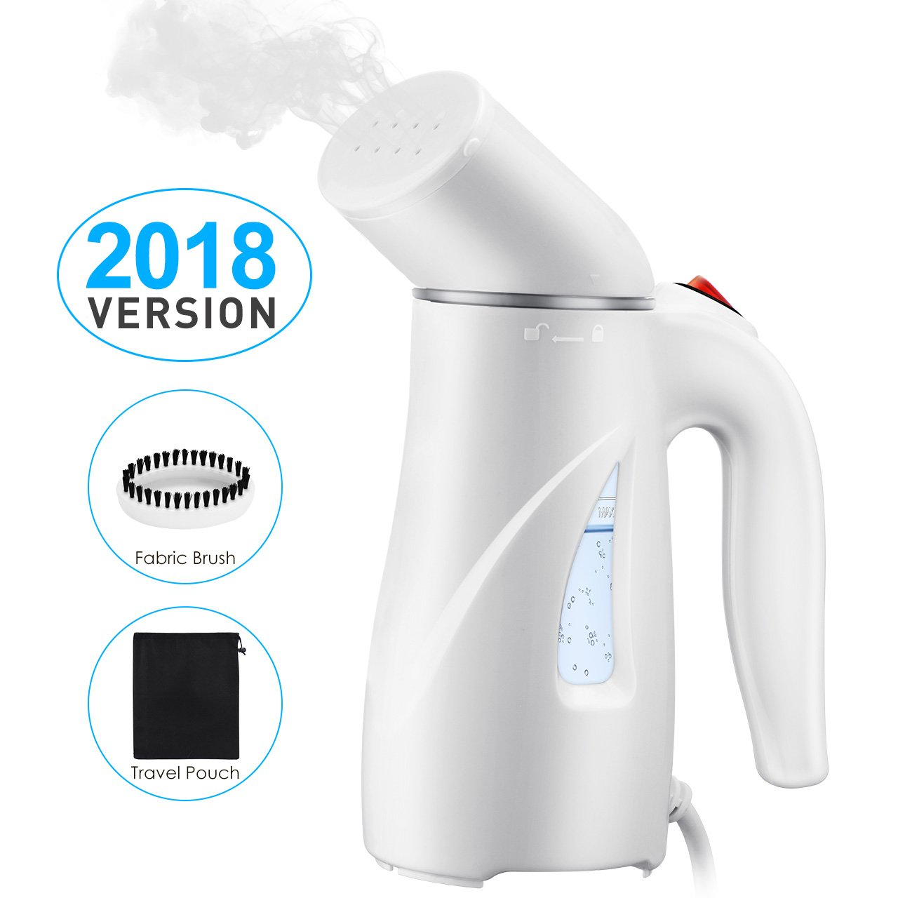 PICTEK Steamers Clothes, Fast Heat-up Handheld Garment Steamer, Compact Portable Wrinkle Remover Fabric Steamer Automatic Shut-Off, Pouch Travel, Home, Office, 110ml