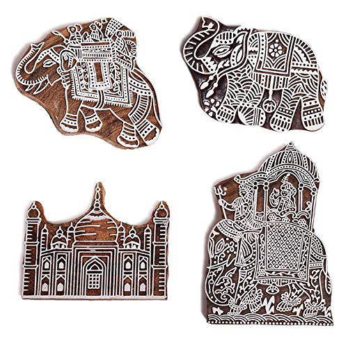 Hashcart Elephant Pattern Mughal Design Wooden Printing Stamp| Block Hand-Carved for Saree Border| Making Pottery Crafts Textile Printing (Set of ()
