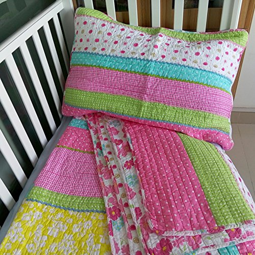 Brandream Pink Polka Dot Stripe Floral Quilt Set Twin In