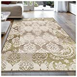 Superior Modern Mystique Collection Area Rug, 8mm Pile Height with Jute Backing, Elegant Multi-colored Damask Pattern, Anti-Static, Water-Repellent Rugs – Brown, 8′ x 10′ Rug Review