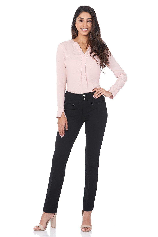 Rekucci Women's Secret Figure Pull-On Knit Straight Pant w/Tummy Control (12,Black)