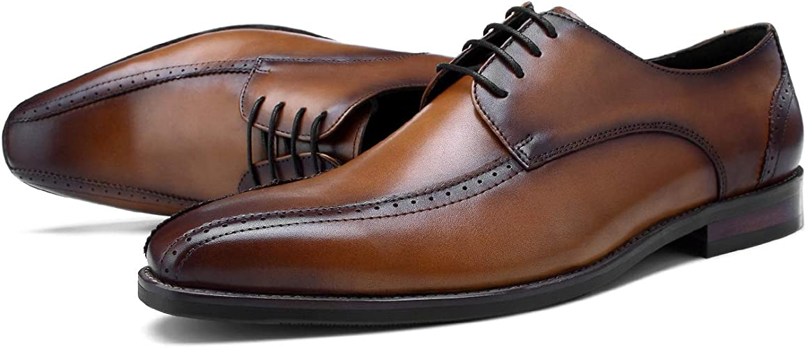 StickSeek Genuine Leather Mens Derby Formal Dress Oxfords Pointed Toe Lace-up Man Wedding Party Shoes
