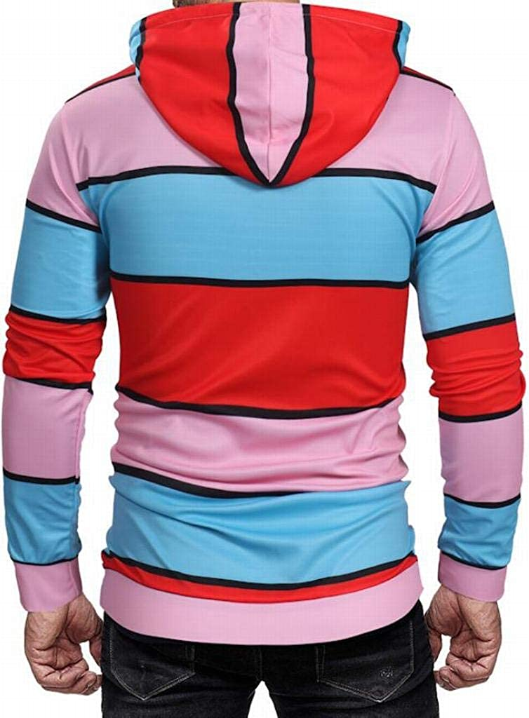 Mstyle Men Long Sleeve Letter Printed Drawstring Sport Casual Contrast Pullover Hoodie Sweatshirt 1 L