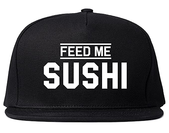 bef7436498a0d Feed Me Sushi Mens Snapback Hat Cap Black at Amazon Men s Clothing ...