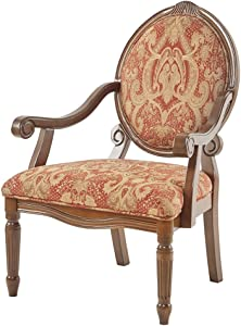 Madison Park KF93024 ROYAL BURGUNDY Brentwood Accent Chairs-Birch Hardwood, Hand Carved Scroll Design Living Armchair Modern Classic Style Family Room Sofa Furniture Bedroom Lounge, Medium, Red