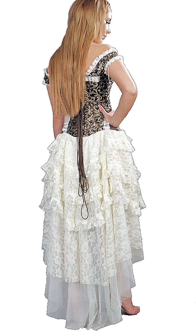 Steampunk Skirts | Bustle Skirts, Lace Skirts, Ruffle Skirts White Lace Steampunk Ophelie Skirt $86.99 AT vintagedancer.com