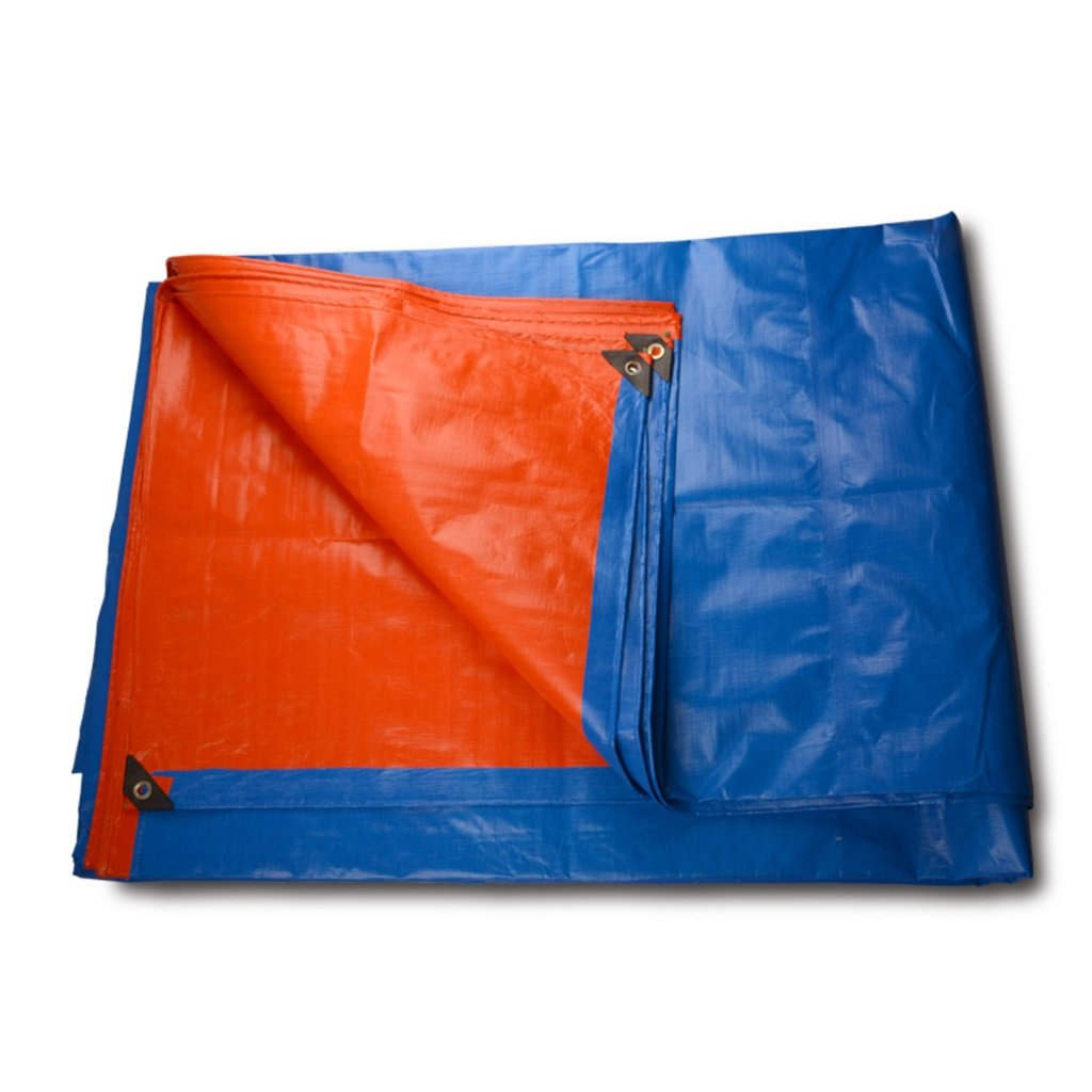 タープ 防水ポリウレタンポンチョの家族キャンプに使用される強力な防水日焼け防止ガーデン屋外は、高品質の保護層、厚さ0.38ミリメートル、180グラム/平方メートル、青+オレンジ、7サイズのオプションがあります (サイズ さいず : 6 * 8m) 6*8m  B07H249PQ4