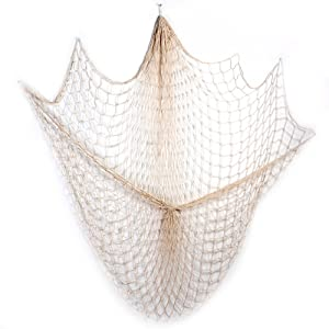 Rosoz Nature Fish Net Wall Decoration, Ocean Themed Wall Hangings Fishing Net Party Decor for Pirate Party,Wedding,Photographing Decoration (Beige-Without Shell)
