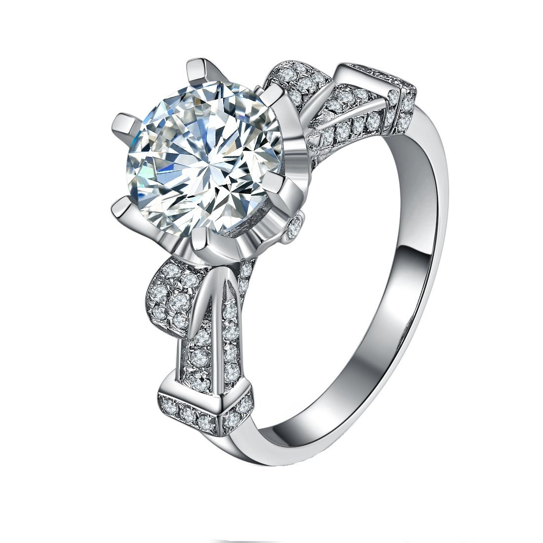 Sterling Silver Fabulous Ring 5CT NSCD Simulated Diamond Ring for Women Engagement 18K Gold Plated