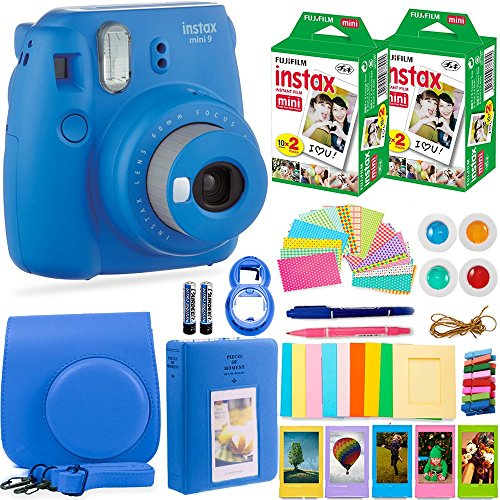 FujiFilm Instax Mini 9 Instant Camera + Fuji Instax Film (40 Sheets) + Accessories Bundle - Carrying Case, Color Filters, Photo Album, Stickers, Selfie Lens + MORE (Cobalt Blue) Fujifilm Kit