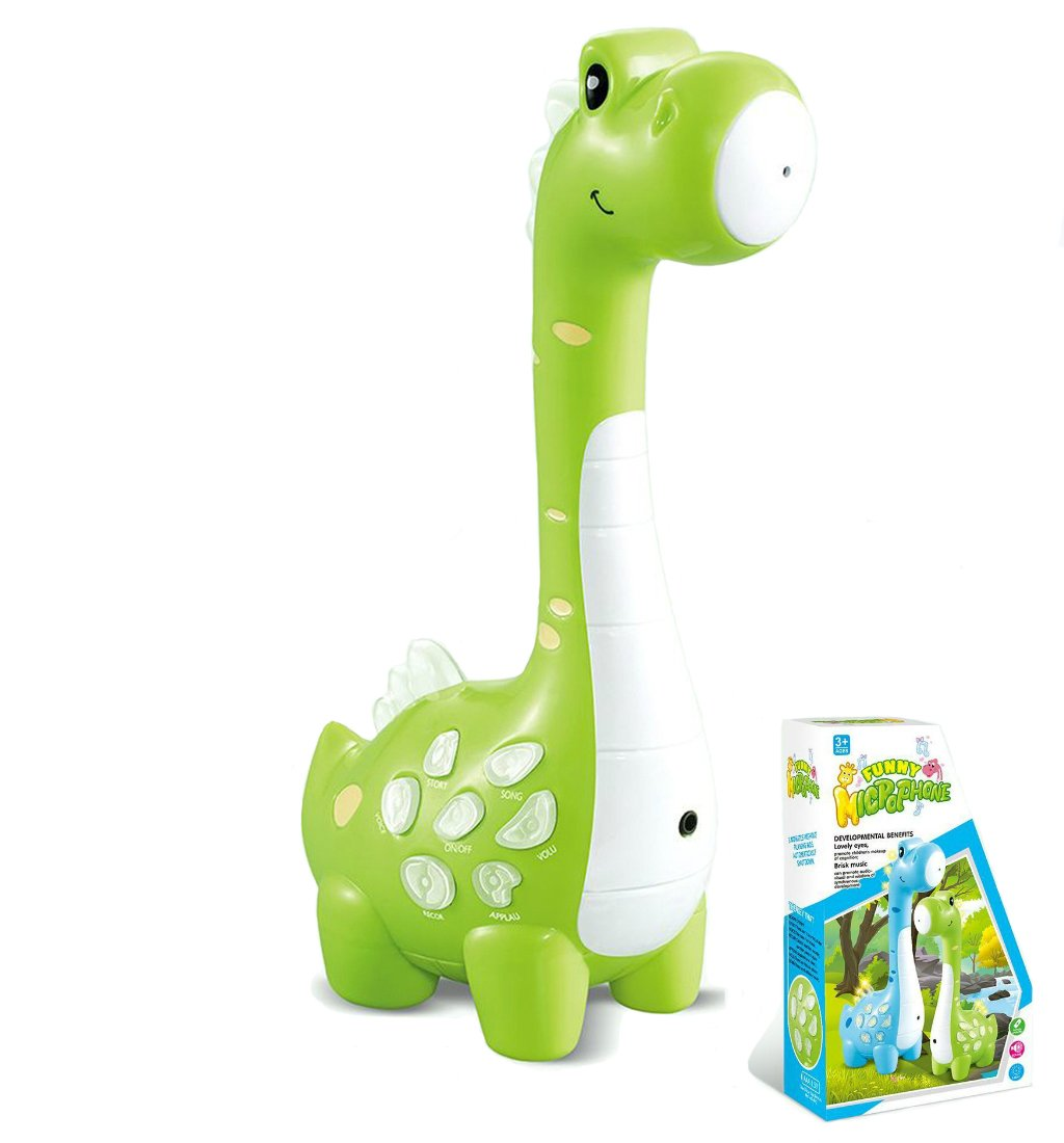 OceanEC Kids Music Karaoke Microphone Multi-Functional Educational Learning Toy with Recording, Play Music, Voice Changer Function and Colorful Lights (Green Dinosaur)