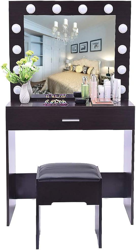 Iusun Vanity Makeup Table SetWith Lighted Mirror Cushioned Stool Dressing Table Drawers Writing Desk Removable Organizers Easy Assembly - Ship from USA (Black walnut)