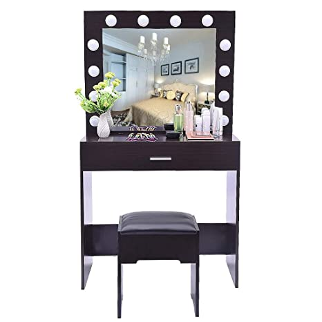 Strange Amazon Com Vanity Mirror With Led Lights And Table Set Dailytribune Chair Design For Home Dailytribuneorg