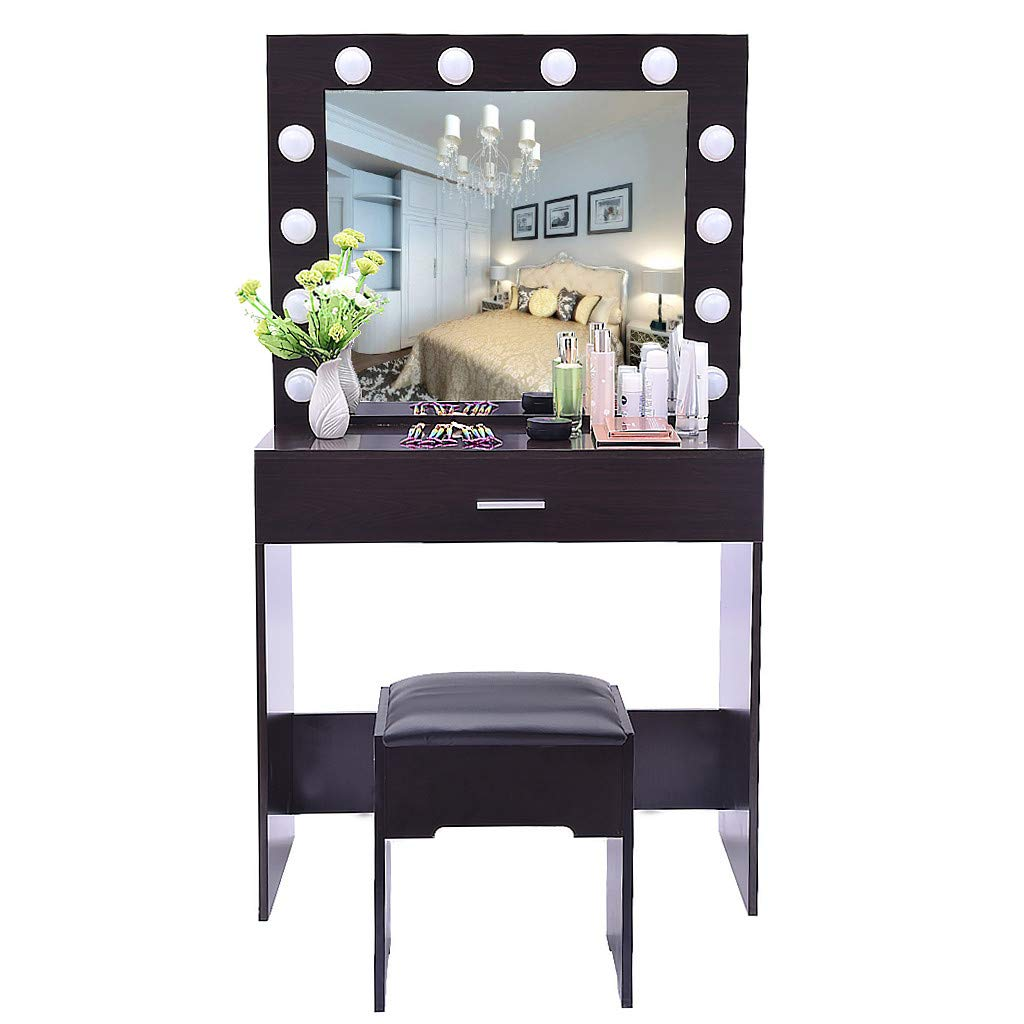 Vanity Table Set with Vanity Lighted Makeup Mirror of 12 Bulb Dressing Table with Large Drawer, Cushioned Stool Bedroom Furniture for Girls (Black Walnut)