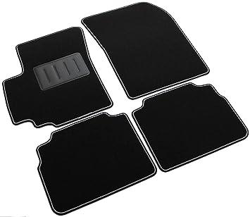 Il Tappeto Auto -SPRINT04104. Alfombrillas de Coche Antideslizantes, Color Negro, Borde Bicolor
