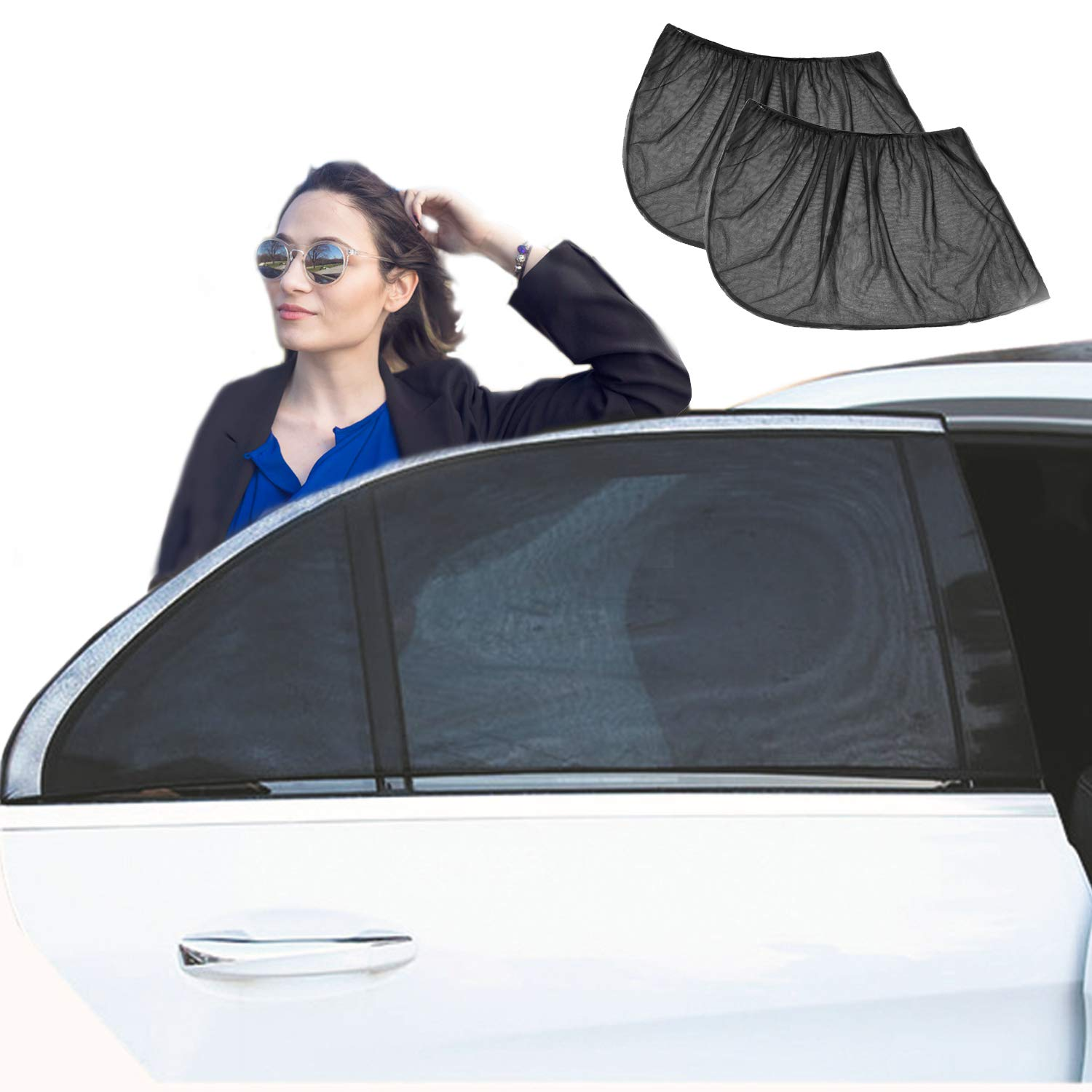 YHmall Car Sun Shades (2 pack) - Blocks UV Rays - Covers Rear Side Windows - Protects Baby Kids and Pets - Car Window Shades Fit Most Cars