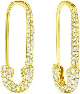 CZ Safety Pin Cartilage Sterling Silver Hoop Earrings for Women Girls Dainty Cubic Zirconia Dangle Drop Hypoallergenic Stud Post Swarvoski Element Crystal Huggie Fashion Hoops Jewelry 20mm Gold Plated