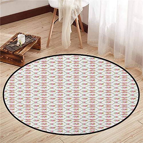 Round Carpet,Wedding,Garden of Pink Roses Engagement Themed Floral Arrangement Romantic Feminine Design,Anti-Slip Doormat Footpad Machine Washable,2'3