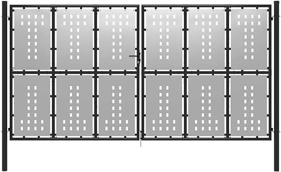 vidaXL Puerta de Jardín de Acero Casa Huerto Piscina Porche Cancela Pórtico Portillo Portón Abertura Entrada Salida Bricolaje 400x175 cm Plateado: Amazon.es: Bricolaje y herramientas