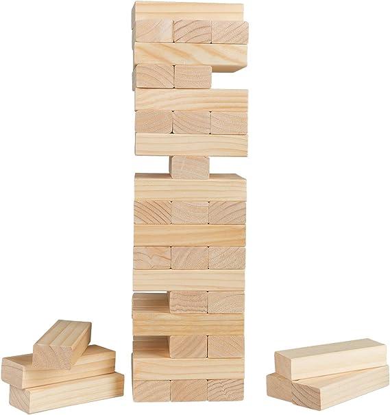 Idena 40205 - Torre Grande XXL con 54 Bloques de construcción de Madera, Aprox. 15,5 x 15,5 x 54 cm, Color marrón Claro: Amazon.es: Juguetes y juegos