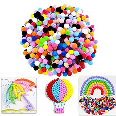 USHOT Caydo 100 Pieces 1 Inch Pom Poms for Hobby Supplies and DIY Creative Crafts Multicolored One Size: Beauty