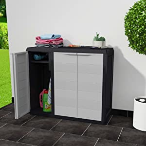 Tidyard 3 Doors Garden Storage Cabinet with 2 Shelves Polypropylene Tool Shed Household Supplies Cabinet for Patio, Garden, Pool Black and Gray