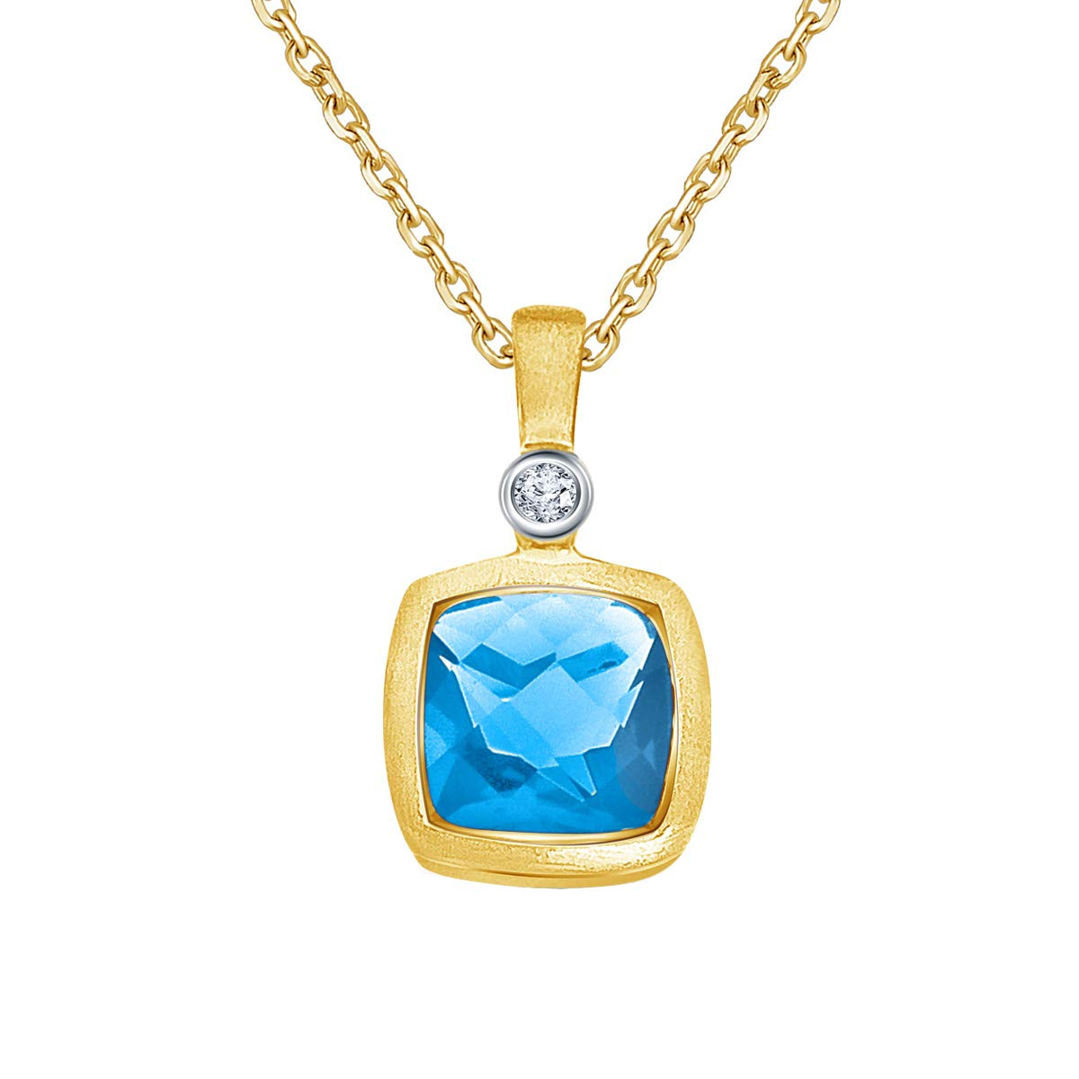 DTJEWELS 0.01 CT Cushion Blue Topaz /& Simulated Diamond Pendant with 18 Chain 14K Yellow Gold Plated