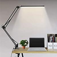 Lámpara de escritorio LED Lámpara de lectura de brazo oscilante de metal con abrazadera Eye-Care Modern Architect…