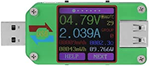 Walfront Um24c/um24 USB 2.0 Power Meter Tester Color LCD Display Voltage Current Power Meter Energy Capacity Charge Measure for Computer Power Bank Cell Phone Discharge Load Tablet Charger (um24)