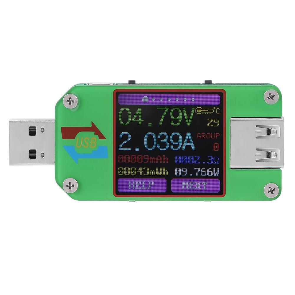 UM24C/UM24 USB 2.0 Power Meter Tester Color LCD Display Voltage Current Power Meter Energy Capacity Charge Measure (UM24)