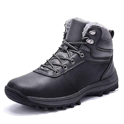 a59c5518e9 Boots Winter Mens Waterproof Warm Ankle Boots Faux Fur Lined Lace up  Outdoor Hiking