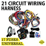 Mophorn 21 Circuit Wiring Harness 17 Fuses Chevy Mopar Ford Hotrods UNIVERSAL Extra long Wire fo Door Locks Radio Air Conditioning