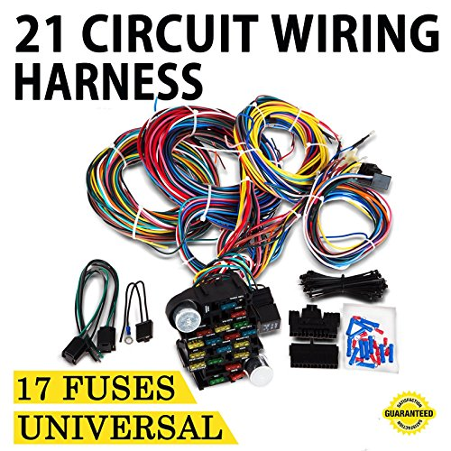 Price comparison product image Mophorn 21 Circuit Wiring Harness 17 Fuses Chevy Mopar Ford Hotrods UNIVERSAL Extra long Wire fo Door Locks Radio Air Conditioning