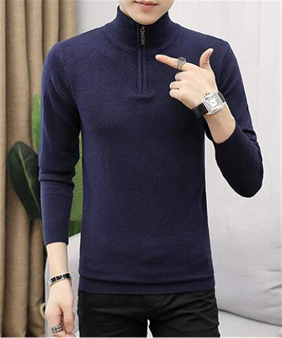 CMCYY Mens Solid Color Jumper Mock Neck Zipper Pullover Knitted Sweaters